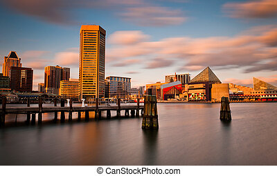 Evening long exposure of the Baltimore Inner Harbor Skyline,...