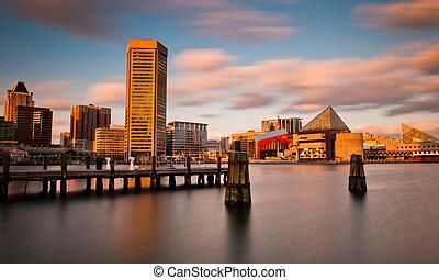Evening long exposure of the Baltimore Inner Harbor Skyline,...
