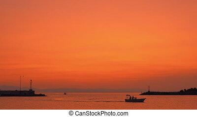 Evening marine scene with sailing motor boats - Sea and sky...