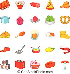Evening meal icons set, cartoon style - Evening meal icons...