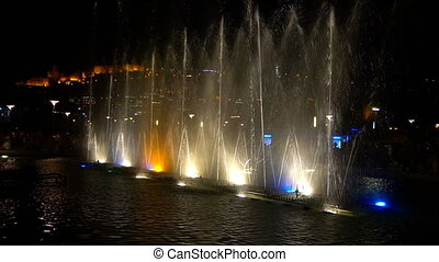Evening Musical singing fountains show.