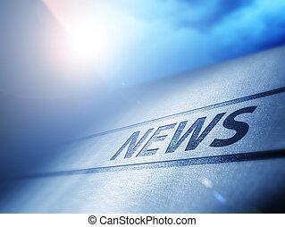 Evening News - News underneath bluish evening sun with...