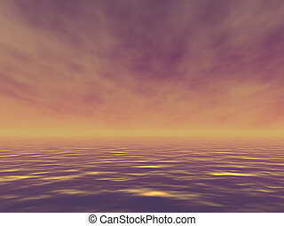 Beautiful ocean with golden waves in the evening. 3d render illustration.