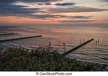 Evening on the Baltic Sea coast in Germany.