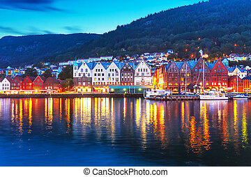 Evening panorama of Bergen, Norway - Scenic summer evening...