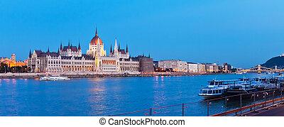 Evening panorama of Budapest, Hungary