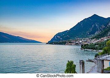 Evening panorama of Limone sul Garda, Lombardy, Italy