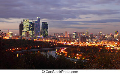 Evening panorama of Moscow City complex of skyscrapers and ...