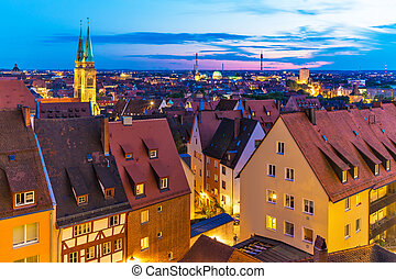 Evening panorama of Nuremberg, Germany - Scenic summer...