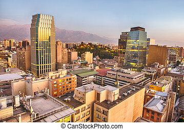 Evening panorama of Santiago de Chile