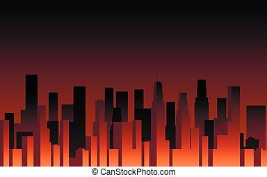 Evening panorama of the city. Skyscrapers at sunset. City landscape. Vector illustration