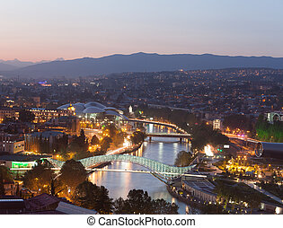 Evening panoramic view of Tbilisi