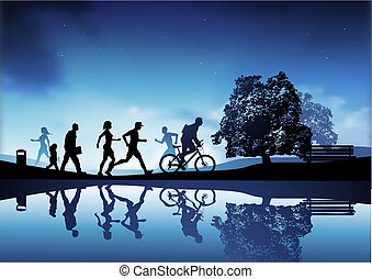 Evening Park Scene - An outdoor park scene with people ...