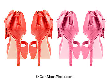 Evening pink shoes with a bow on a high heel   Isolated on a white background . two couples collage, rear view