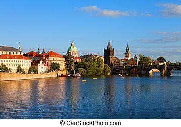 Evening Prague - Vltava river and Charle's Bridge