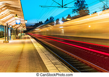 Evening railway station - Creative abstract railroad travel...