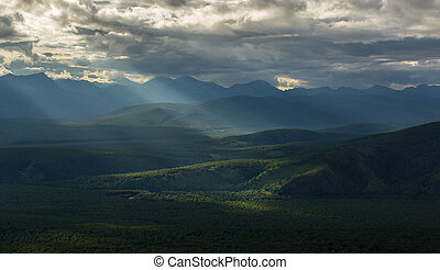 Evening rays on Kronotsky Nature Reserve in Kamchatka Peninsula.