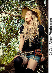 evening romance - Boho style fashion. Beautiful young woman...