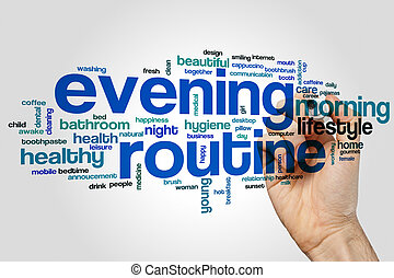 Evening routine word cloud concept on grey background