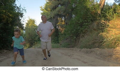 Evening run with granddad in the woods - Slow motion...