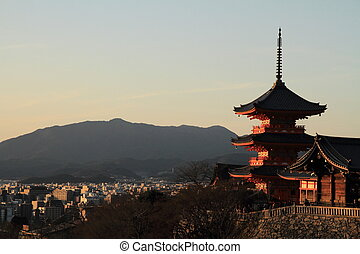 (evening, scene), 京都, 塔, 清水, 日本, 寺, 3階建てである