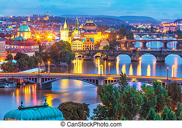 Evening scenery of Prague, Czech Republic - Evening summer...