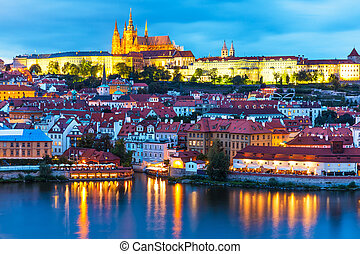 Evening scenery of Prague, Czech Republic - Scenic summer...