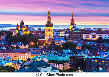 Evening scenery of Tallinn, Estonia - Evening scenic summer...