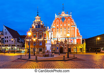 Evening scenery of the Old Town Hall Square in Riga, Latvia...