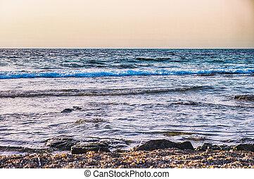 Evening sea coast.