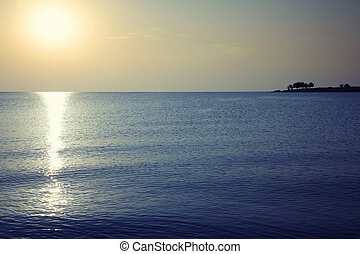 Evening sea during sunset. Horizontal photo with natural ...