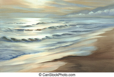 evening seascape watercolor - evening seascape with waves...