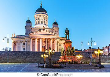 Evening Senate Square, Helsinki, Finland