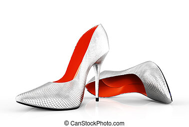 evening shoes - 3D illustration of pair strict classical...