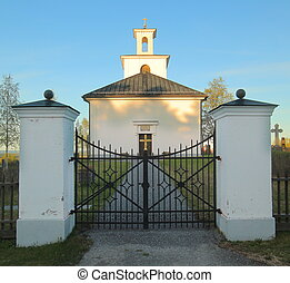 Evening shot of church in Lungre in Sweden