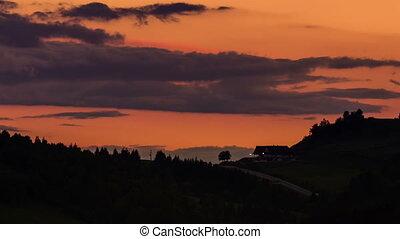 Evening sky after sunset time lapse. Close-up
