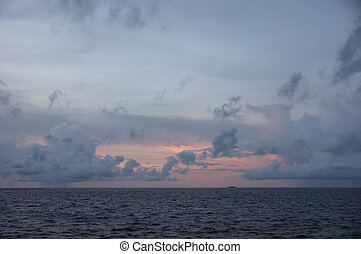Evening sky at sunset over the Indian Ocean