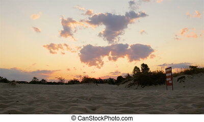 Evening sky on the beach, sand beach - ?Evening sky on the...