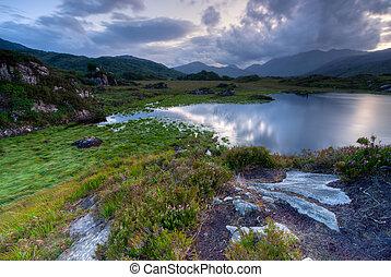 Evening sky over lakes in Killarney National Park, Republic of Ireland, Europe