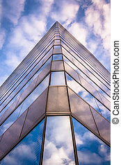 Evening sky reflecting in modern glass architecture at 250...