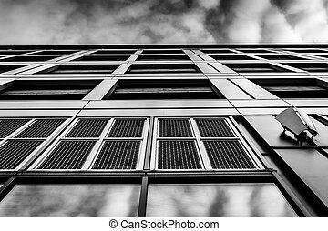 Evening sky reflections on the side of a modern building in Baltimore, Maryland.