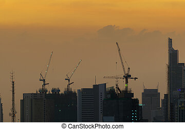 Evening Sky with building and crane