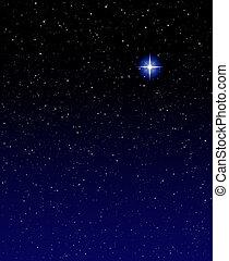 Evening Star - A shining star against a star field...
