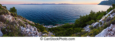 Evening summer coastline (Ston, Croatia)