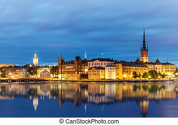 Evening summer scenery of the Old Town (Gamla Stan) in Stockholm, Sweden