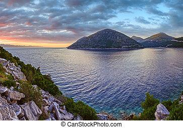 Evening summer sunset Ston coastline, Croatia