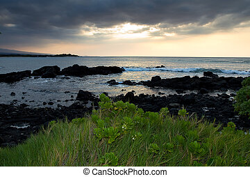 Evening sunset at the infamous A-Bay on the big Island of Hawaii