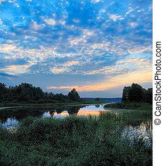 evening sunset lake