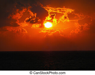 Evening sunset on sea