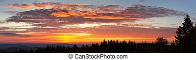 Evening sunset view of beautiful sky with red clouds
